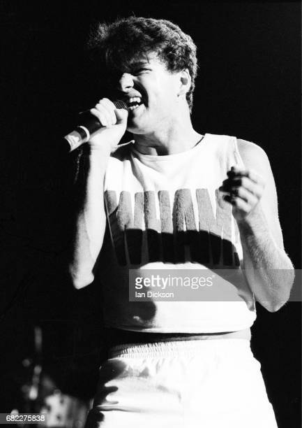 George Michael of Wham performing on stage at Hammersmith Odeon London 28 October 1983