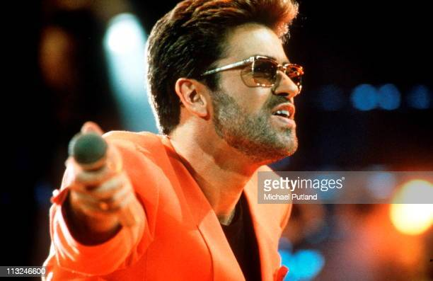 George Michael perform on stage at the Freddie Mercury Tribute Concert for AIDS Awareness at Wembley Stadium April 20th 1992