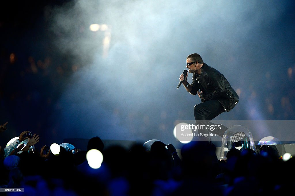 George Michael performs during the Closing Ceremony on Day 16 of the London 2012 Olympic Games at Olympic Stadium on August 12, 2012 in London, England.