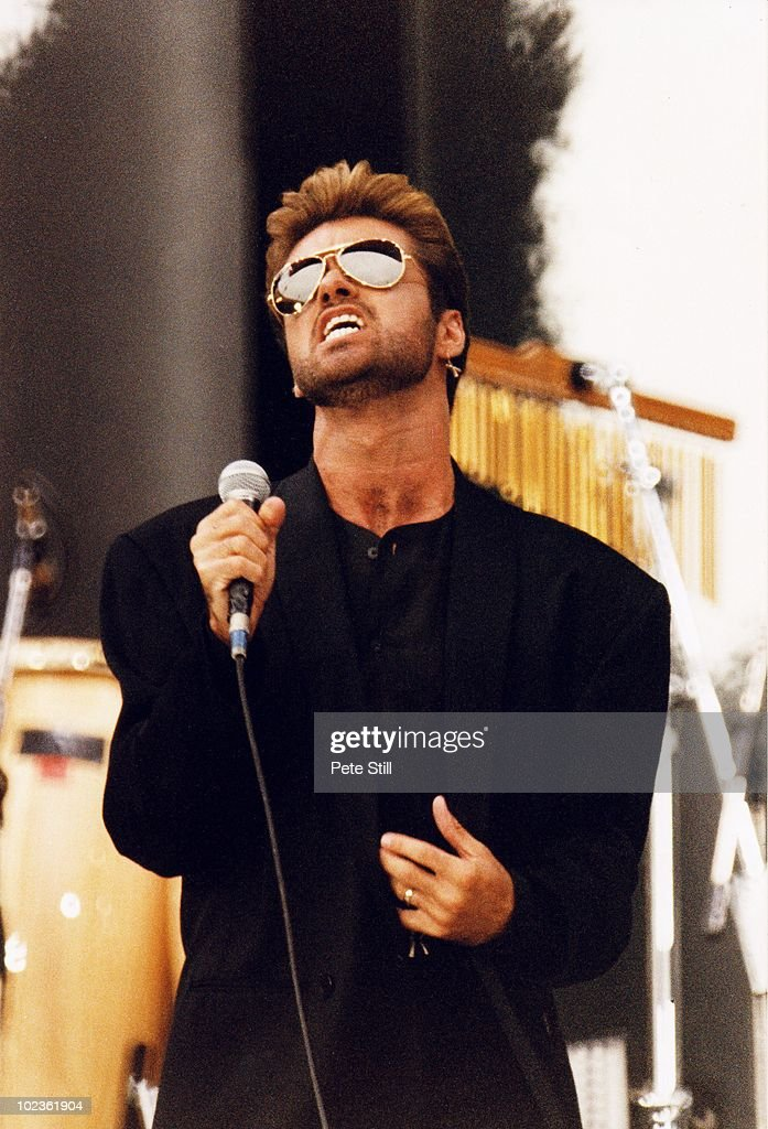 George Michael performs on stage at The Nelson Mandela 70th Birthday Tribute concert, in Wembley Stadium on June 11th, 1988 in London, England.