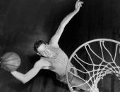 George Mikan of the Minneapolis Lakers during warmup at Madison Square Garden