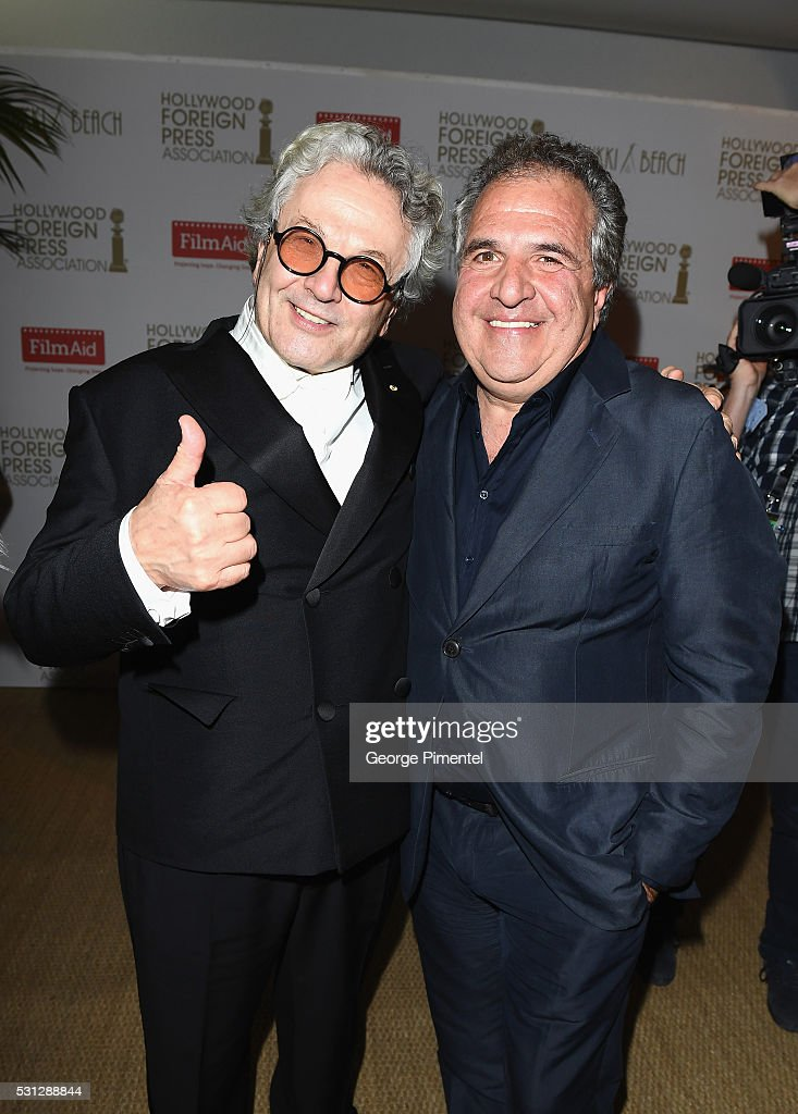 George Miller and Jim Gianopulos attend The Hollywood Foreign Press Association Honour Filmaid International party during The 69th Annual Cannes Film Festival on May 13, 2016 in Cannes, France.