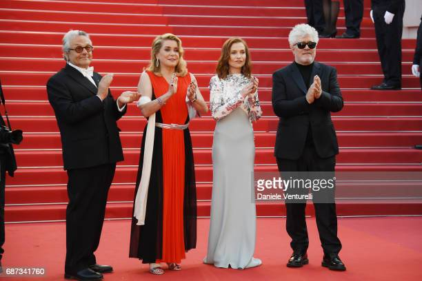 George Miller Catherine Deneuve Isabelle Huppert and Pedro Almodovar attend the 70th Anniversary of the 70th annual Cannes Film Festival at Palais...