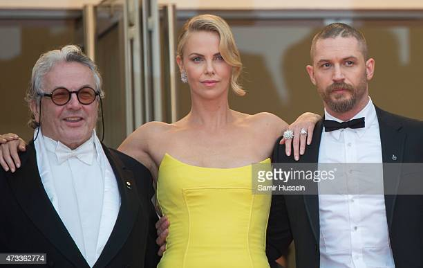George Miller Charlize Theron and Tom Hardy attend the 'Mad Max Fury Road' Premiere during the 68th annual Cannes Film Festival on May 14 2015 in...
