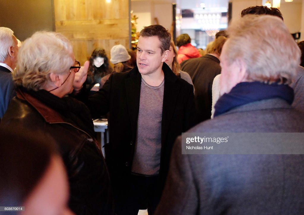 George Miller, Matt Damon attend the 2016 Film Society Of Lincoln Center Luncheon at Scarpetta on January 5, 2016 in New York City.