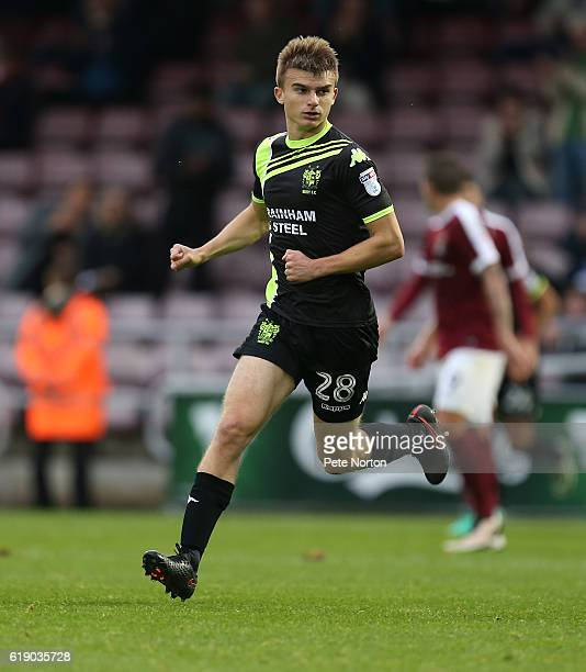 George Miller of Bury in action during the Sky Bet League One match between Northampton Town and Bury at Sixfields on October 29 2016 in Northampton...