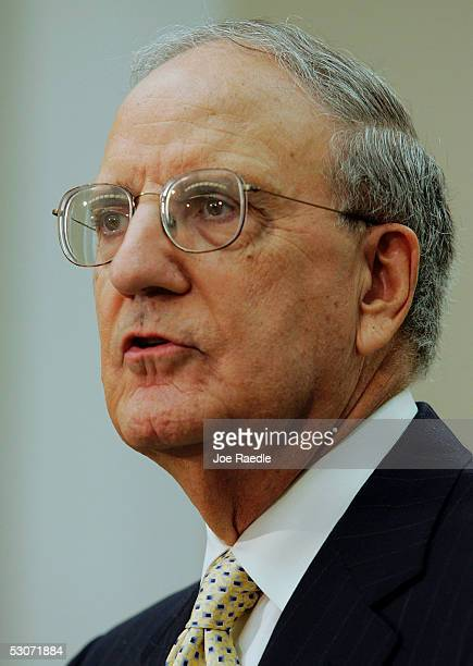 George Mitchell former Senate Majority Leader speaks during a news briefing to release the task force on the United Nations report to the House and...
