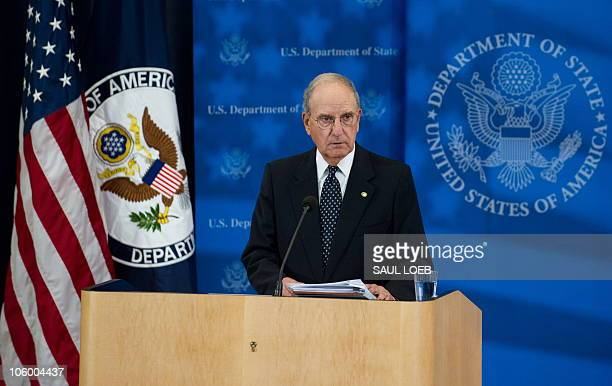 George Mitchell US Special Envoy for Middle East Peace speaks to the media at the US State Department in Washington DC September 2 about the peace...