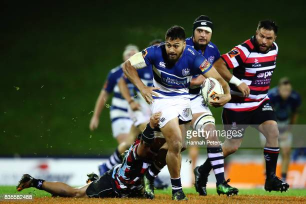 George Moala of Auckland charges forward during the round one Mitre 10 Cup match between Counties Manukau and Auckland at ECOLight Stadium on August...