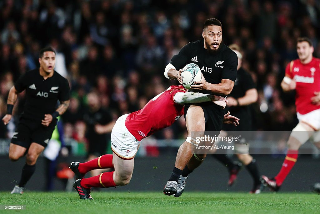 <a gi-track='captionPersonalityLinkClicked' href=/galleries/search?phrase=George+Moala&family=editorial&specificpeople=7060971 ng-click='$event.stopPropagation()'>George Moala</a> of New Zealand is tackled by Rhys Patchell of Wales during the International Test match between the New Zealand All Blacks and Wales at Forsyth Barr Stadium on June 25, 2016 in Dunedin, New Zealand.