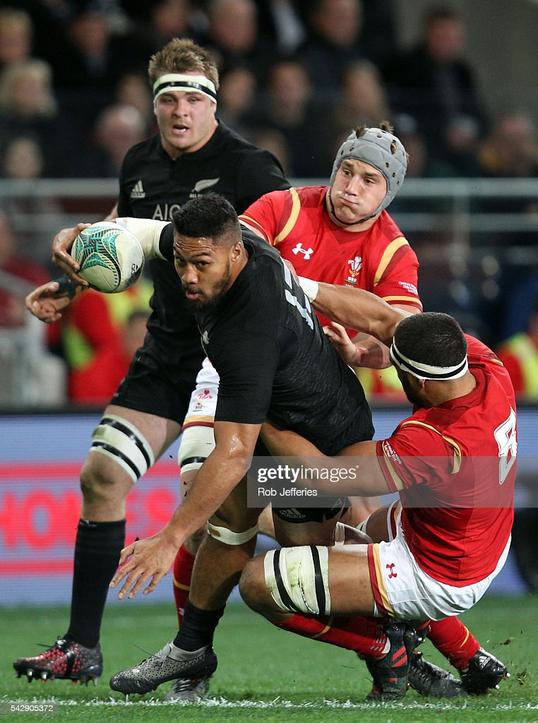 <a gi-track='captionPersonalityLinkClicked' href=/galleries/search?phrase=George+Moala&family=editorial&specificpeople=7060971 ng-click='$event.stopPropagation()'>George Moala</a> of New Zealand looks to bust the Wales defence during the International Test match between the New Zealand All Blacks and Wales at Forsyth Barr Stadium on June 25, 2016 in Dunedin, New Zealand.