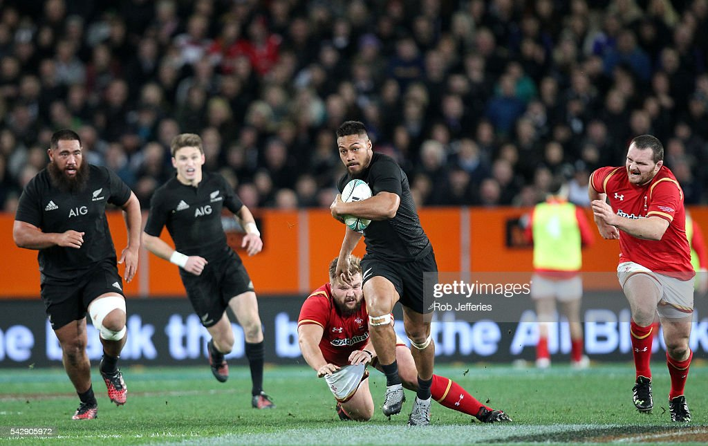 <a gi-track='captionPersonalityLinkClicked' href=/galleries/search?phrase=George+Moala&family=editorial&specificpeople=7060971 ng-click='$event.stopPropagation()'>George Moala</a> of New Zealand on the attack during the International Test match between the New Zealand All Blacks and Wales at Forsyth Barr Stadium on June 25, 2016 in Dunedin, New Zealand.