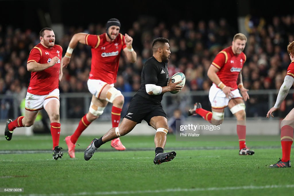 George Moala of the All Blacks makes a break during the International Test match between the New Zealand All Blacks and Wales at Forsyth Barr Stadium on June 25, 2016 in Dunedin, New Zealand.