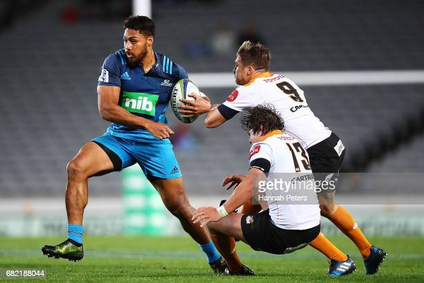 George Moala of the Blues charges forward during the round 12 Super Rugby match between the Blues and the Cheetahs at Eden Park on May 12 2017 in...