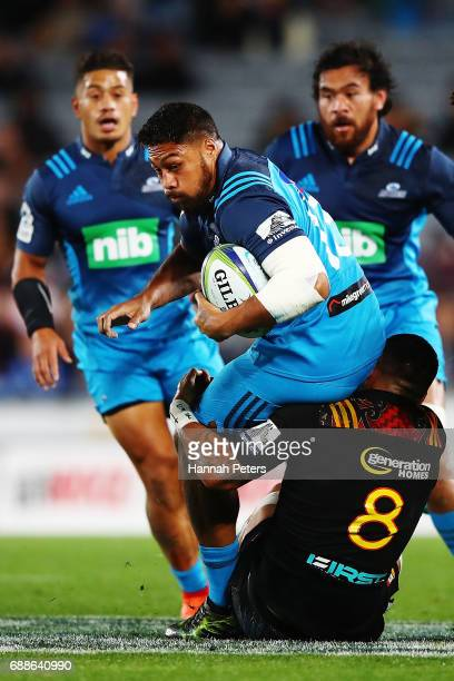 George Moala of the Blues charges forward during the round 14 Super Rugby match between the Blues and the Chiefs and Eden Park on May 26 2017 in...