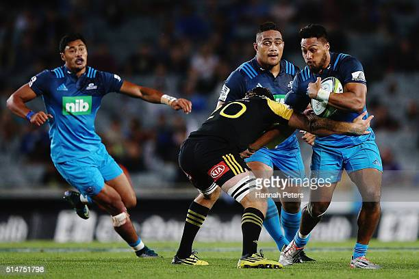 George Moala of the Blues charges forward during the round three Super Rugby match between the Blues and the Hurricanes at Eden Park on March 11 2016...