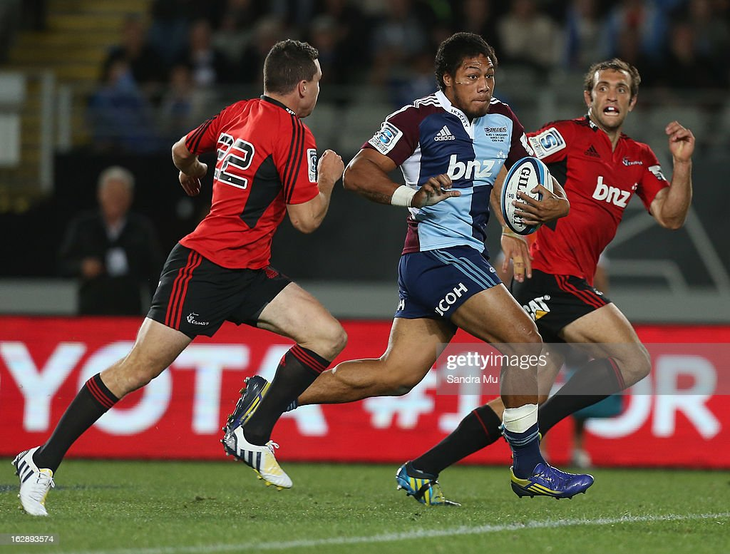 George Moala of the Blues in action during the round 3 Super Rugby match between the Blues and the Crusaders at Eden Park on March 1, 2013 in Auckland, New Zealand.
