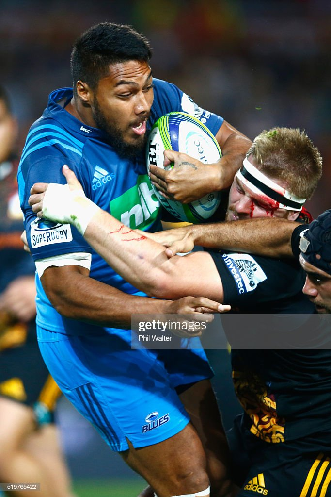 George Moala of the Blues is tackled by Sam Cane of the Chiefs during the round seven Super Rugby match between the Chiefs and the Blues on April 8, 2016 in Hamilton, New Zealand.