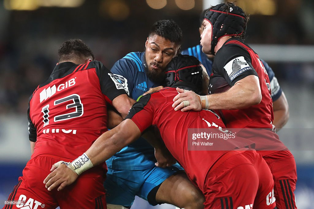 <a gi-track='captionPersonalityLinkClicked' href=/galleries/search?phrase=George+Moala&family=editorial&specificpeople=7060971 ng-click='$event.stopPropagation()'>George Moala</a> of the Blues is tackled during the round 14 Super Rugby match between the Blues and the Crusaders at Eden Park on May 28, 2016 in Auckland, New Zealand.