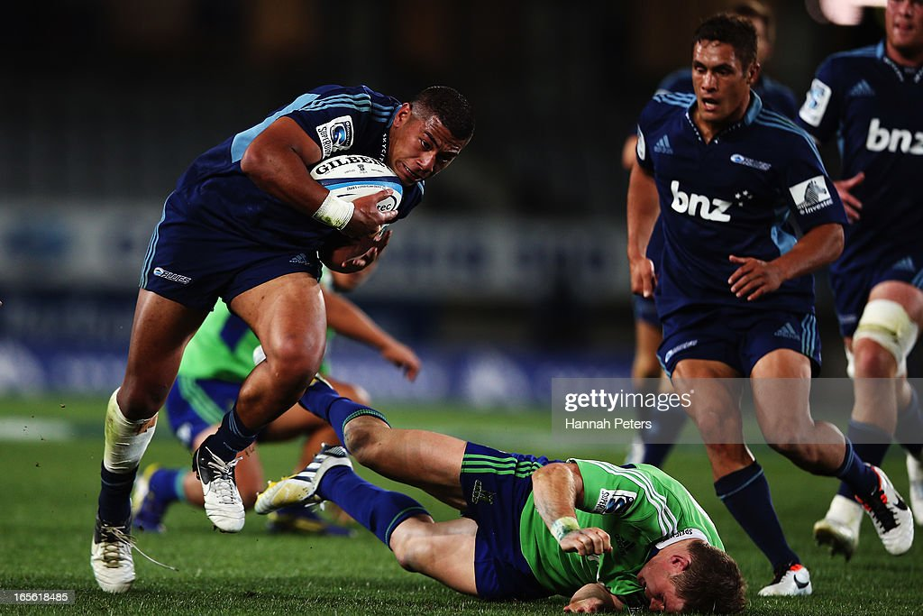 George Moala of the Blues makes a break during the round eight Super Rugby match between the Blues and the Highlanders at Eden Park on April 5, 2013 in Auckland, New Zealand.