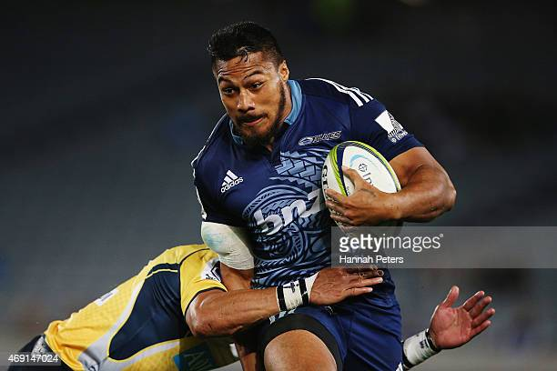 George Moala of the Blues makes a break during the round nine Super Rugby match between the Blues and the Brumbies at Eden Park on April 10 2015 in...