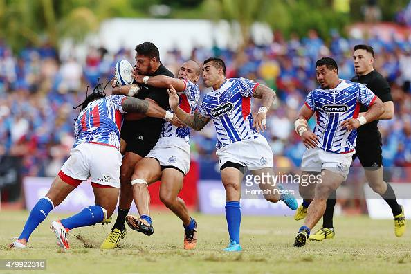 George Moala of the New Zealand All Blacks charges forward during the International Test match between Samoa and the New Zealand All Blacks at Apia...