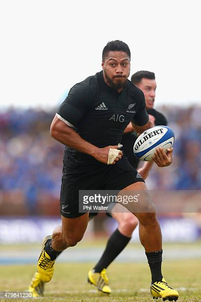 George Moala of the New Zealand All Blacks is try bound during the International Test match between Samoa and the New Zealand All Blacks at Apia...
