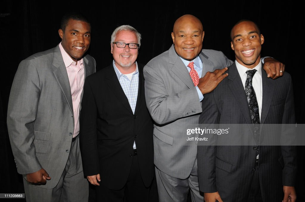 George 'Monk' Foreman III, Larry W. Jones, former boxing champion George Foreman and George Foreman IV of 'Family Foreman' during the 2008 Summer Television Critics Association Press Tour for MTVN held at the Beverly Hilton hotel on July 9, 2008 in Beverly Hills, California. **EXCLUSIVE