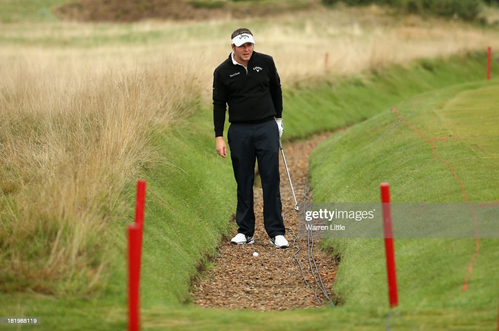 George Murray of Scotland prepares to play out of a ditch on the 12th hole during the second round of the Alfred Dunhill Links Championship at the Championship Links on September 27, 2013 in Carnoustie, Scotland.