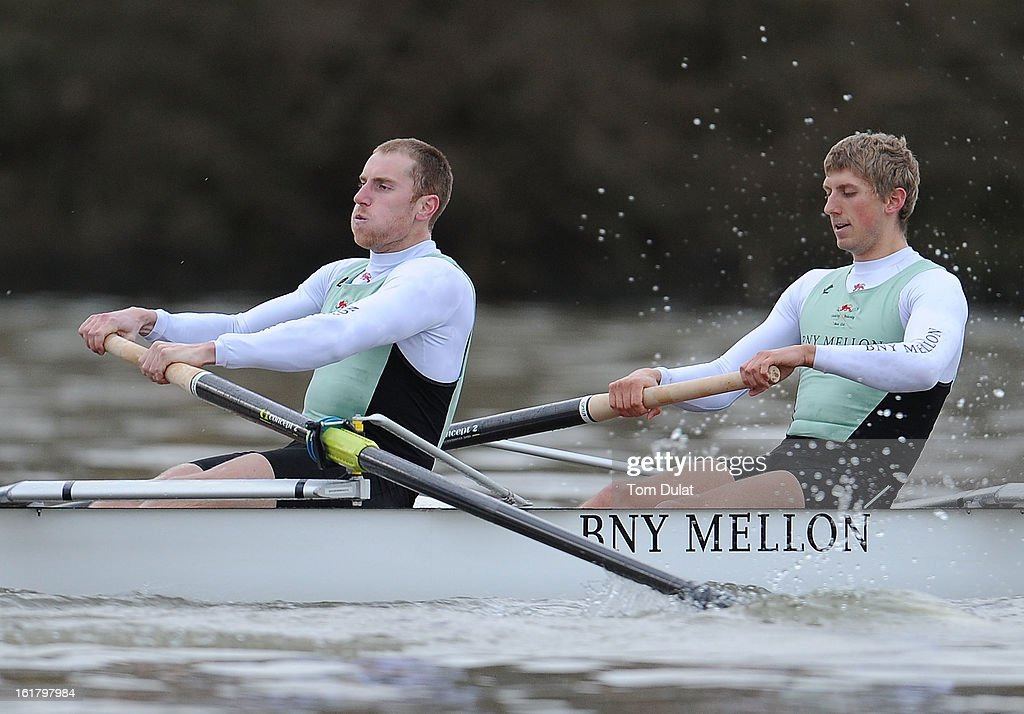 George Nash and Niles Garratt of The Cambridge team in action during the training race against University of Washington on the River Thames on February 16, 2013 in London, England.