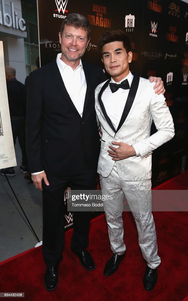 George Nolfi and Phillip Ng attend the Premiere Of WWE Studios' 'Birth Of The Dragon' at ArcLight Hollywood on August 17, 2017 in Hollywood, California.