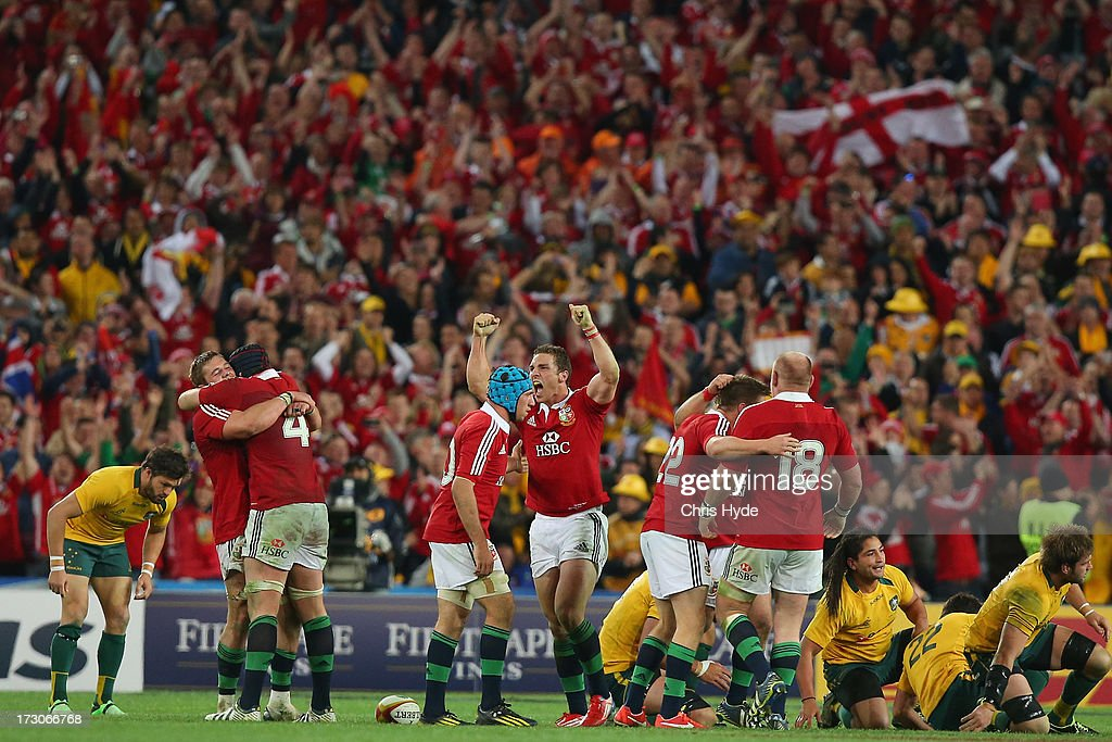 George North and the British Irish Lions celebrate after winning the International Test match between the Australian Wallabies and British Irish...