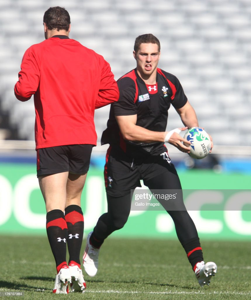 <a gi-track='captionPersonalityLinkClicked' href=/galleries/search?phrase=George+North&family=editorial&specificpeople=7320853 ng-click='$event.stopPropagation()'>George North</a> in action during the Welsh national rugby team Captain's Run at Eden Park on October 20, 2011 in Auckland, New Zealand.