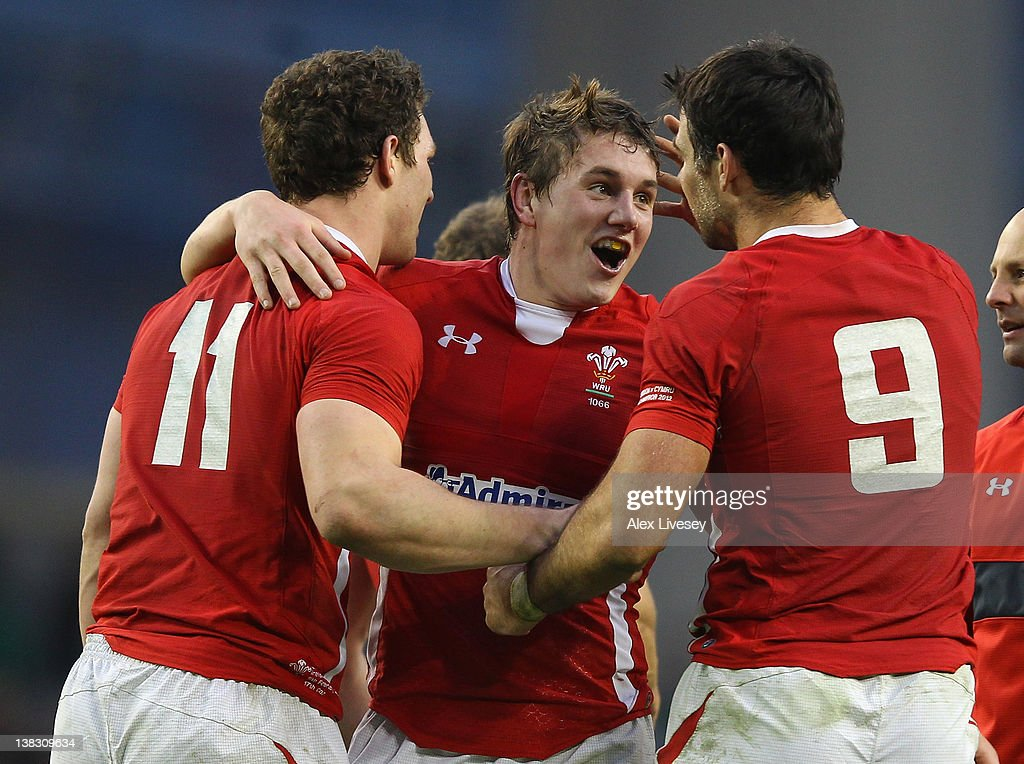 <a gi-track='captionPersonalityLinkClicked' href=/galleries/search?phrase=George+North&family=editorial&specificpeople=7320853 ng-click='$event.stopPropagation()'>George North</a>, Jonathan Davies and Mike Phillips of Wales celebrate at the final whistle after victory over Ireland in the RBS Six Nations match between Ireland and Wales at the Aviva Stadium on February 5, 2012 in Dublin, Ireland.