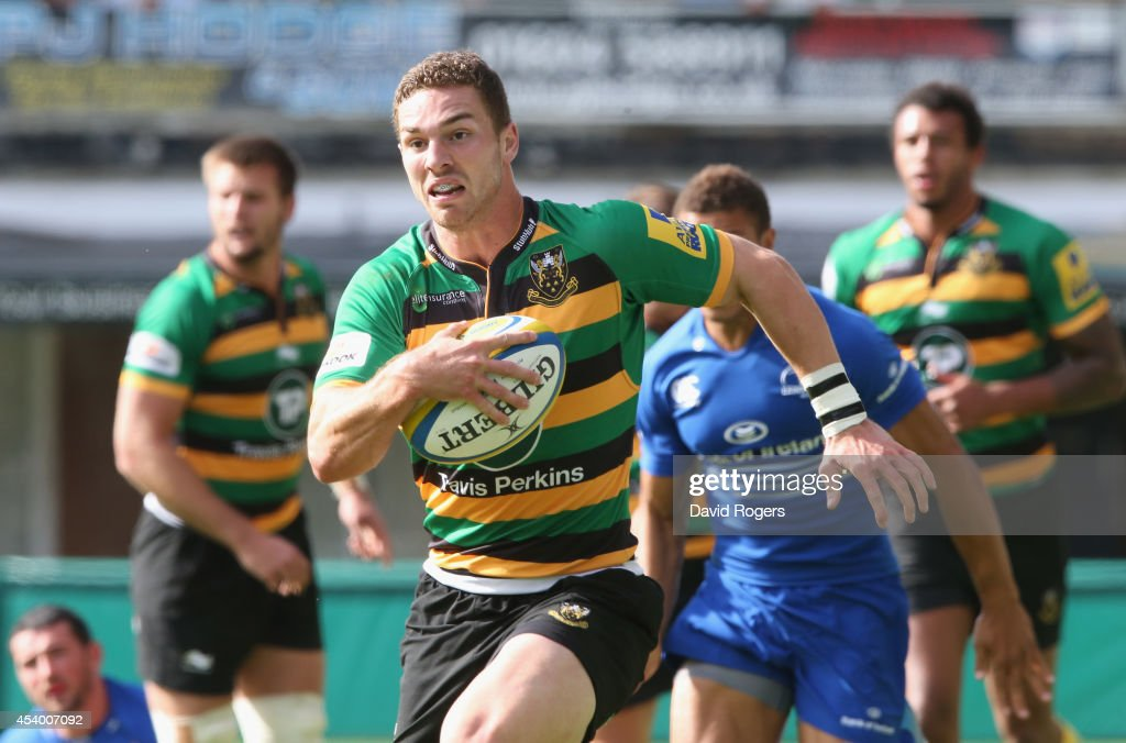 George North of Northampton breaks clear to score his second try during the pre season friendly match between Northampton Saints and Leinster at Franklin's Gardens on August 23, 2014 in Northampton, England.