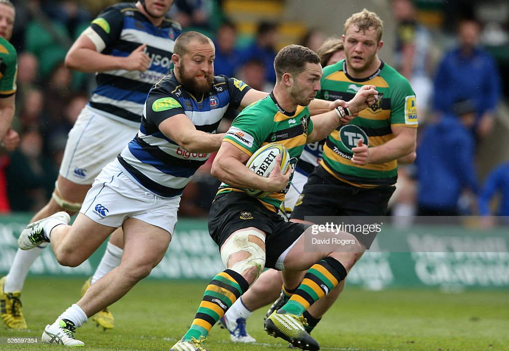 <a gi-track='captionPersonalityLinkClicked' href=/galleries/search?phrase=George+North&family=editorial&specificpeople=7320853 ng-click='$event.stopPropagation()'>George North</a> of Northampton breaks with the ball during the Aviva Premiership match between Northampton Saints and Bath at Franklin's Gardens on April 30, 2016 in Northampton, England.