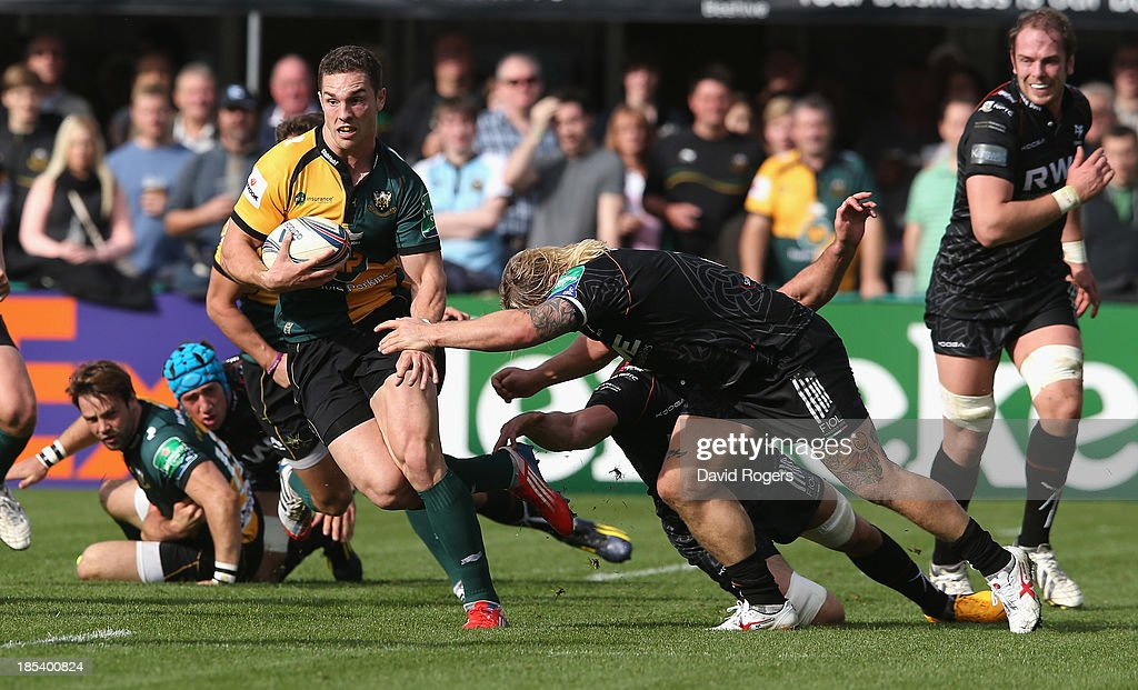 George North of Northampton breaks with the ball during the Heineken Cup pool 1 match between Northampton Saints and Ospreys at Franklin's Gardens on October 20, 2013 in Northampton, England.