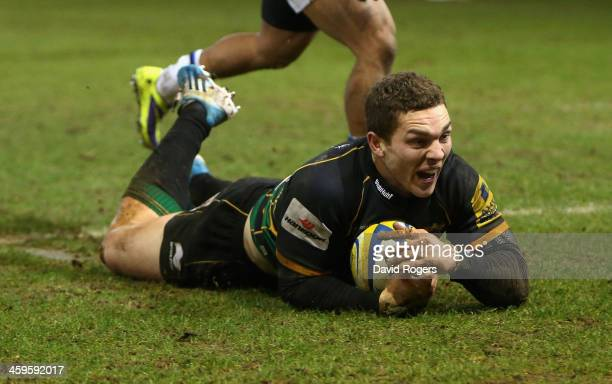 George North of Northampton dives over for the final try during the Aviva Premiership match between Northampton Saints and Bath at Franklin's Gardens...