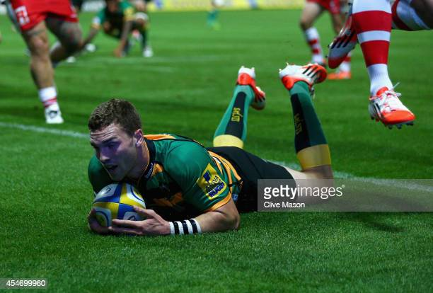 George North of Northampton scores a try during the Aviva Premiership match between Northampton Saints and Gloucester Rugby at Franklin's Gardens on...