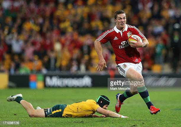 George North of the Lions breaks free to score a try during the First Test match between the Australian Wallabies and the British Irish Lions at...