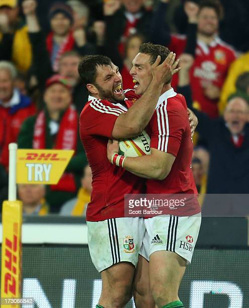George North of the Lions celebrates after scoring a try during the International Test match between the Australian Wallabies and British Irish Lions...