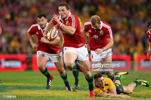 George North of the Lions makes a break during the First Test match between the Australian Wallabies and the British Irish Lions at Suncorp Stadium...