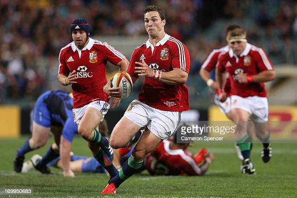 George North of the Lions makes a break during the tour match between the Western Force and the British Irish Lions at Patersons Stadium on June 5...
