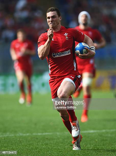 George North of Wales breaks on the way to scoring his first try during the RBS 6 Nations match between Italy and Wales at Stadio Olimpico on March...