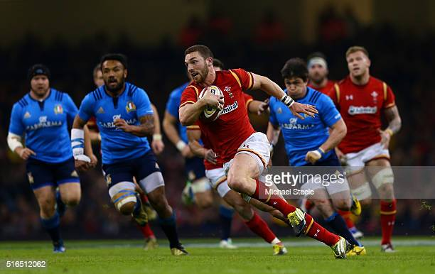 George North of Wales breaks to score his team's fifth try during the RBS Six Nations match between Wales and Italy at the Principality Stadium on...