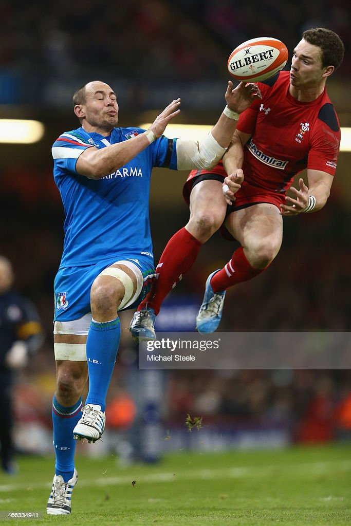 <a gi-track='captionPersonalityLinkClicked' href=/galleries/search?phrase=George+North&family=editorial&specificpeople=7320853 ng-click='$event.stopPropagation()'>George North</a> (R) of Wales challenges for a high ball alongside <a gi-track='captionPersonalityLinkClicked' href=/galleries/search?phrase=Sergio+Parisse&family=editorial&specificpeople=648570 ng-click='$event.stopPropagation()'>Sergio Parisse</a> (L) of Italy during the RBS Six Nations match between Wales and Italy at the Millenium Stadium on February 1, 2014 in Cardiff, Wales.
