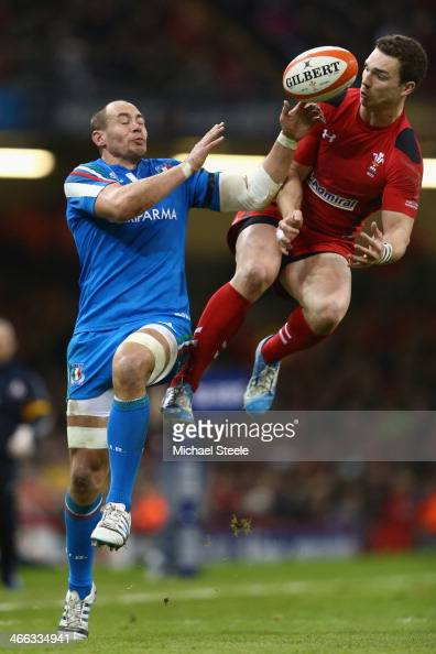 George North of Wales challenges for a high ball alongside Sergio Parisse of Italy during the RBS Six Nations match between Wales and Italy at the...
