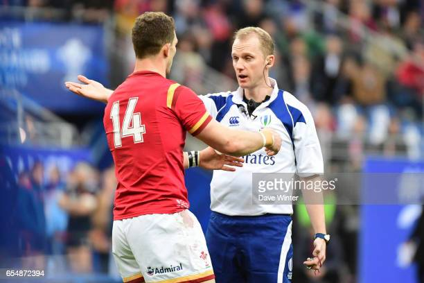 George North of Wales complains to referee Wayne Barnes that a French player bit him during the RBS Six Nations match between France and Wales at...
