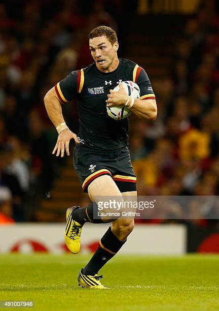George North of Wales in action during the 2015 Rugby World Cup Pool A match between Wales and Fiji at Millennium Stadium on October 1 2015 in...