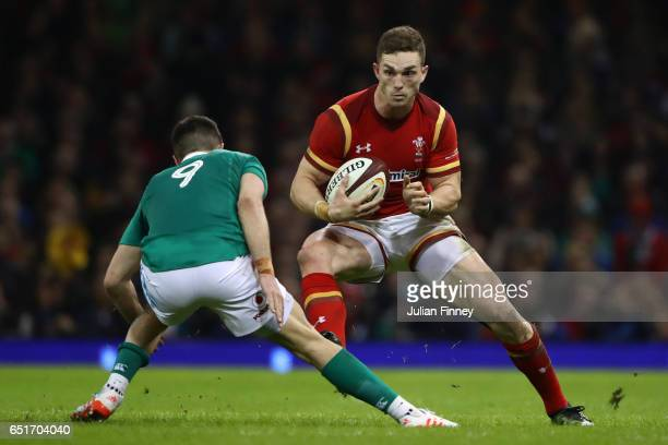 George North of Wales is faced by Conor Murray of Ireland during the Six Nations match between Wales and Ireland at the Principality Stadium on March...